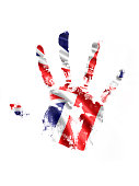A stock photo/rendered image of a hand print with the UK flag design.